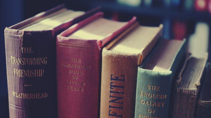 closeup photo of assorted title books